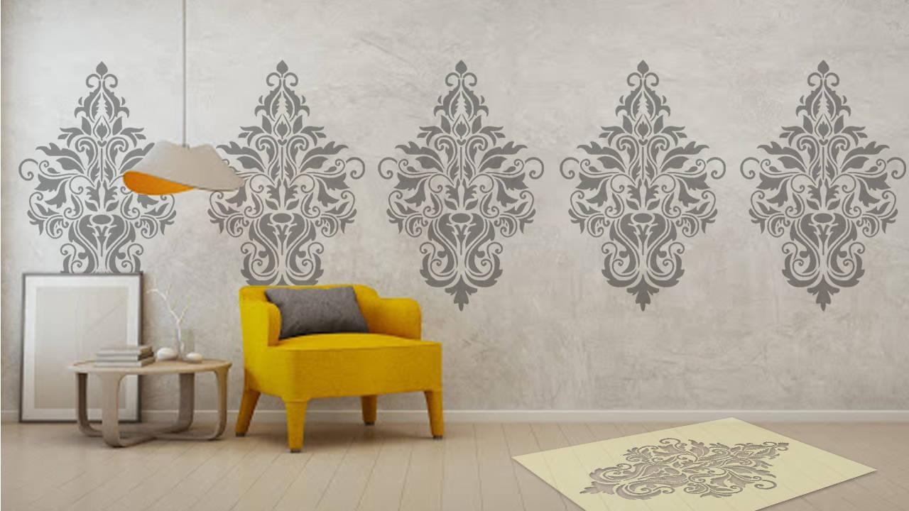 Large damask stencil wall paint