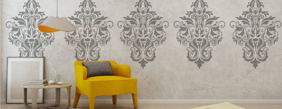 Large damask stencil wall paint