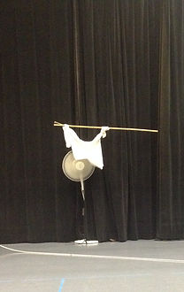 t-shirt tied to a stick coming out of black curtains and dangling in front of an oscillating fan