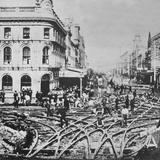 1900 Laying Tram Lines at Cnr Queen & Customs Sts