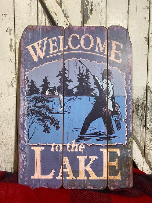 Lake Wooden Welcome Sign