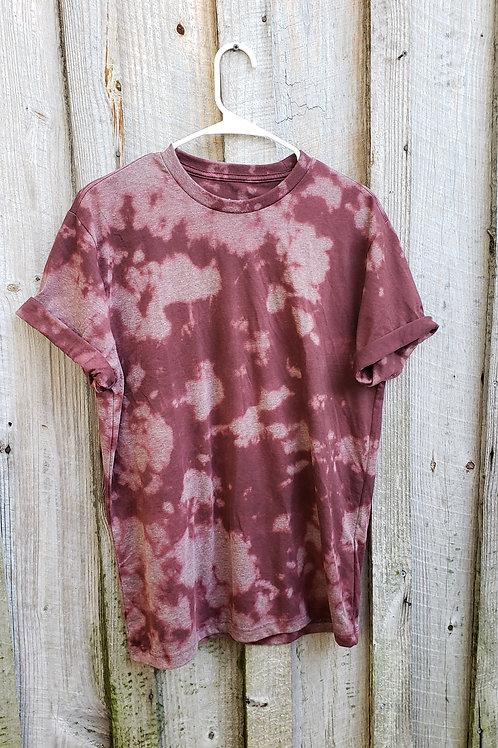 Bleach dye maroon short sleeve tshirt - Size M, soft and comfy