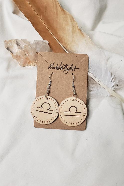 Libra - Lightweight Wood Burned Earrings