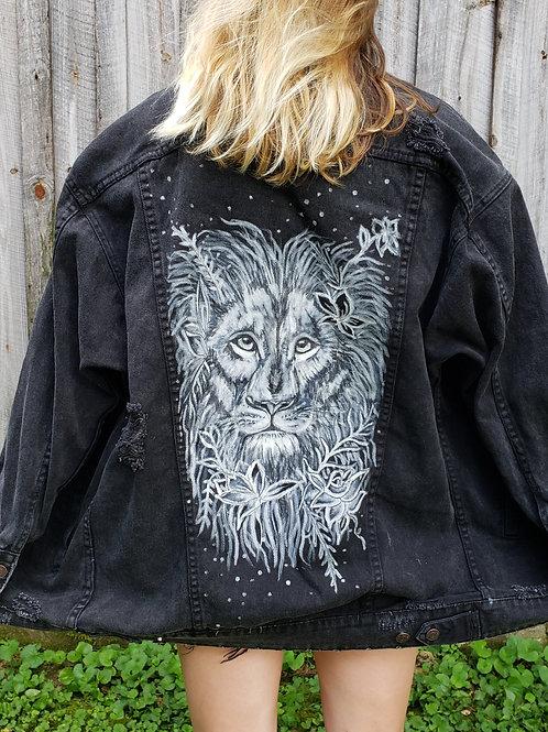 Lion Flower - Hand Painted Denim Jacket