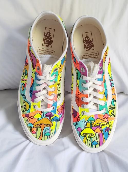Hand drawn + painted mushroom Vans - Brand NEW shoes!