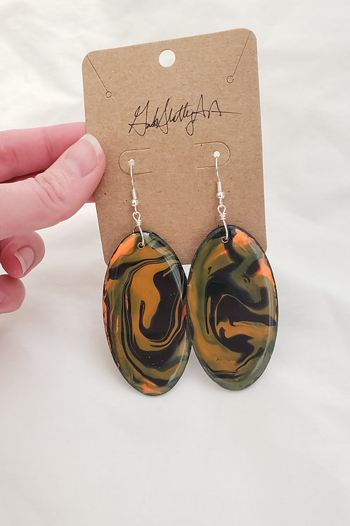 Hallow's Eve - Paint Pour/Epoxy Resin Earrings