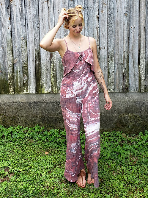 Pretty in Pink Geode Dye Romper (upcycled S)
