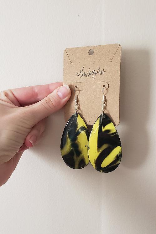 Queen Bee - Paint Pour/Epoxy Resin Earrings