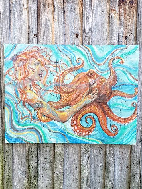 "Octopus Companion Original 30"" x 40"" Painting"