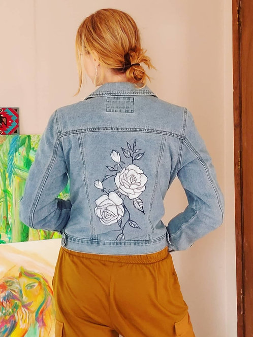 Roses - Size S Hand Painted Denim Jacket