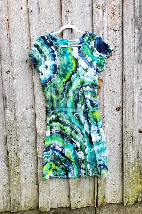 Upcycled Ocean Goddess hooded geode dress (L)