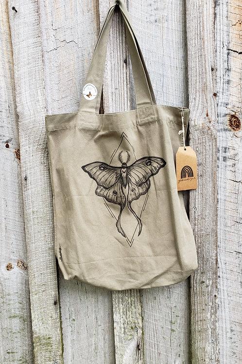 Luna moth canvas bag - light army green