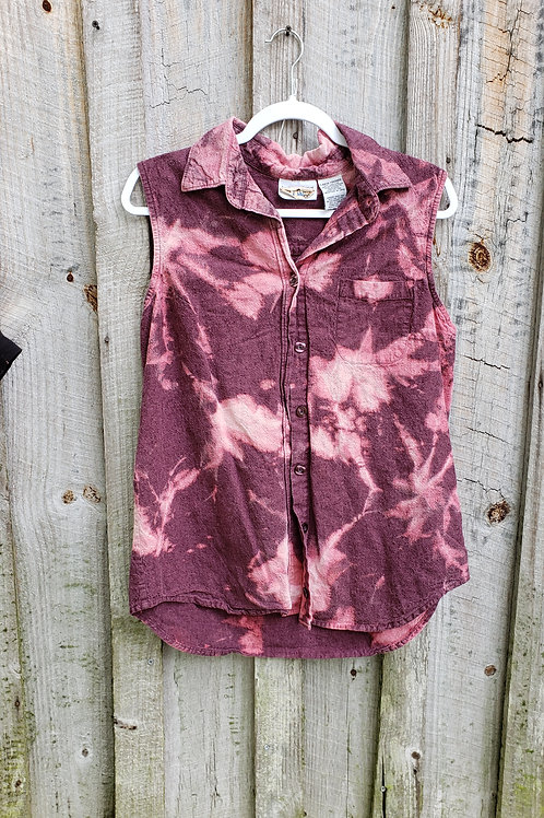 Upcycled Bleached Button Up Top (L)