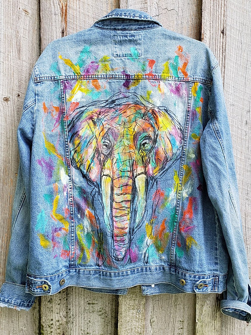 Hand Painted Elephant Denim Jacket (upcycled F21 men's XL)