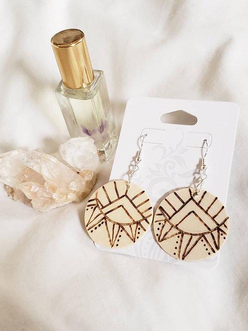 Tribal Sunrise - Wood Burn Earrings