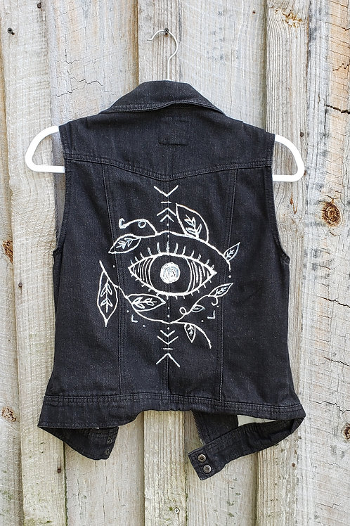 Nature's Eye - Hand Painted Denim Vest Jacket