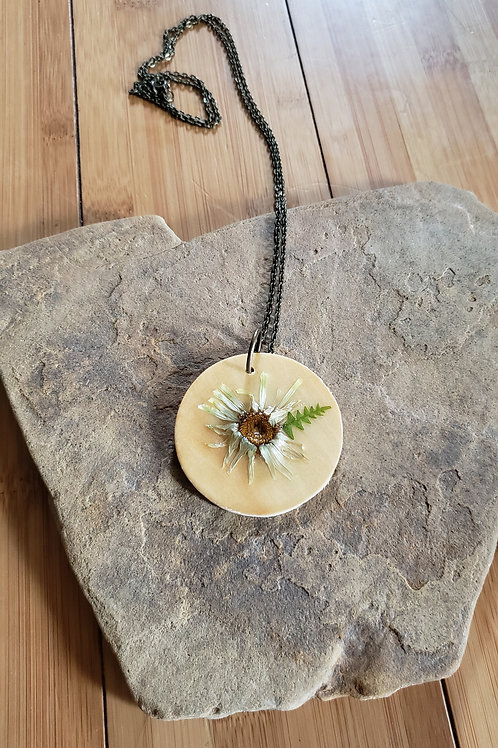 Real Daisy Necklace in Epoxy Resin