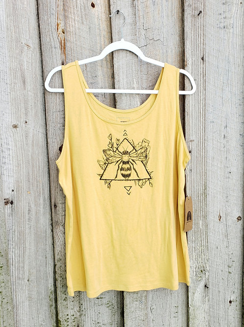 Upcycled Hand Drawn Bee Tank - Size 2X