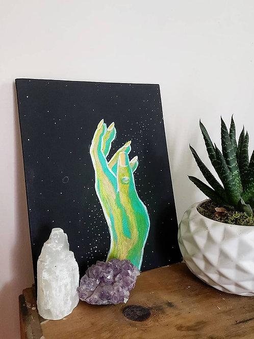"""Into the Stars - Original 8"""" x 10"""" canvas board"""