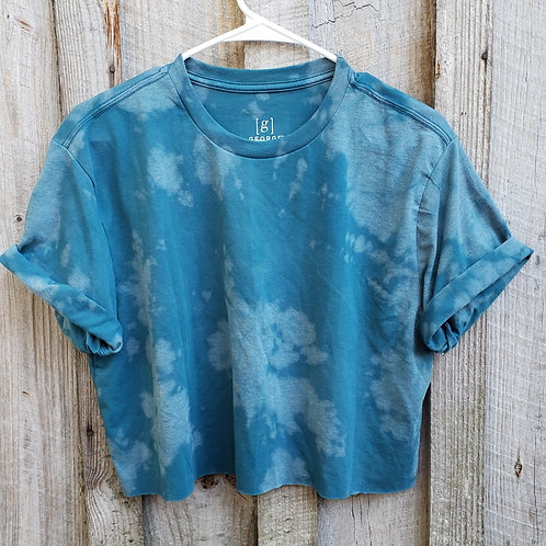 Bleach dye teal blue short sleeve cropped tee - Size M, soft & comfy