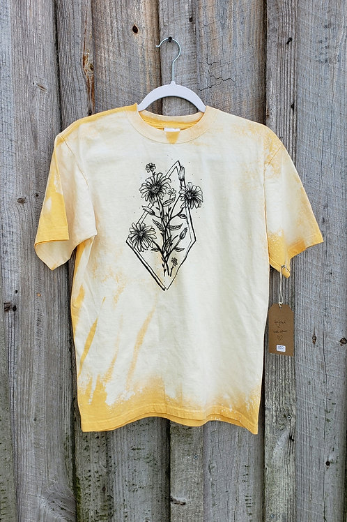 Upcycle Hand Drawn Daisies Tee - Youth XL or Adult S/M