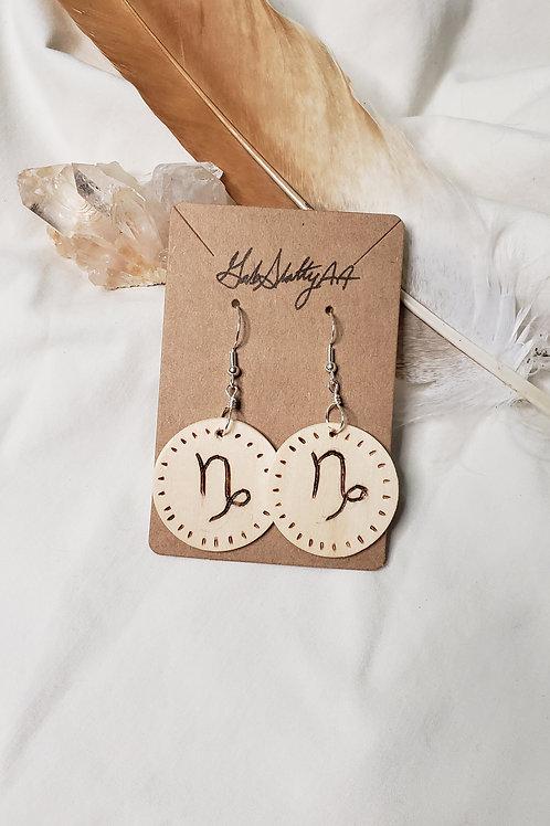 Capricorn - Lightweight Wood Burned Earrings