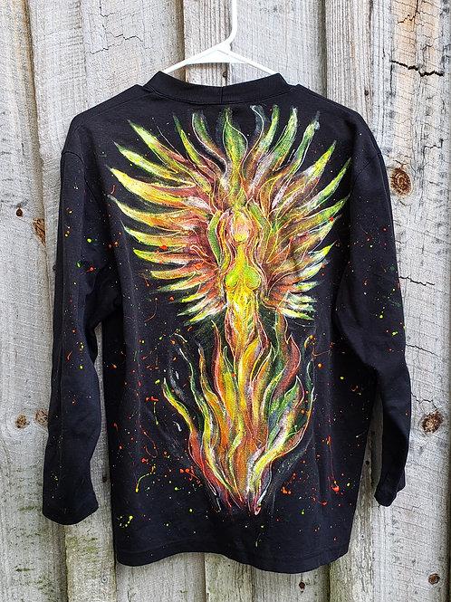 Upcycled Painted Phoenix Goddess Cardigan (L)