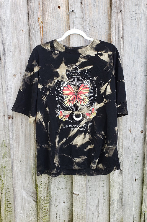Upcycled Bleach Dye Butterfly Tee - Size Unisex 2X