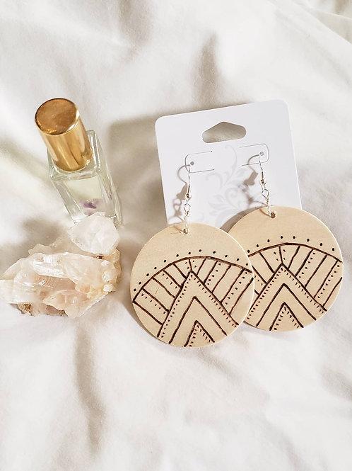 Mountain Sunrise - Wood Burn Earrings