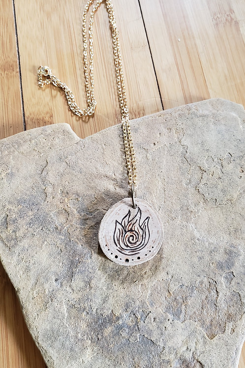 """Real Cherry Wood - Fire Symbol Burned Necklace on 30"""" chain"""