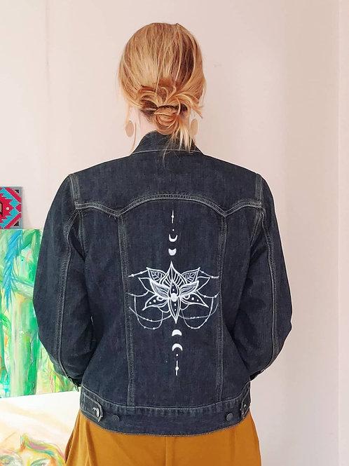 Lotus Moon Phases - Size M Hand Painted Upcycled Denim Jacket