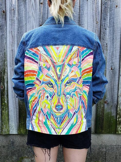 Cosmic Wolf - Hand Painted Denim Jacket