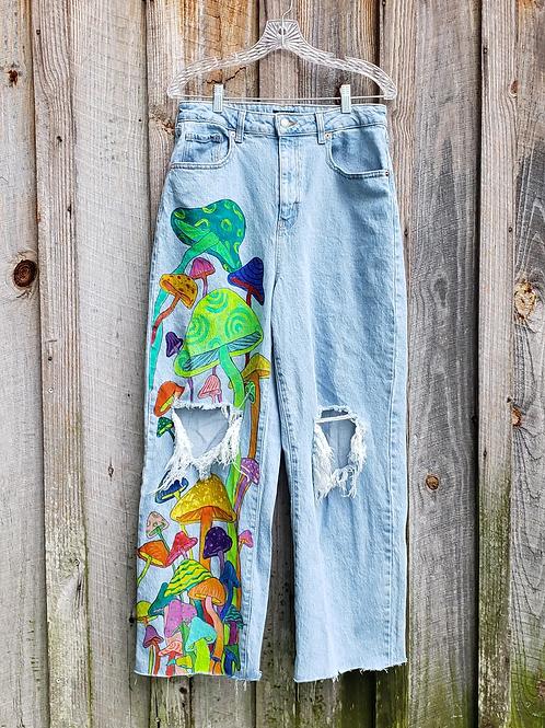 "Hand Painted Mushroom Jeans - 30"" high waisted, baggy"