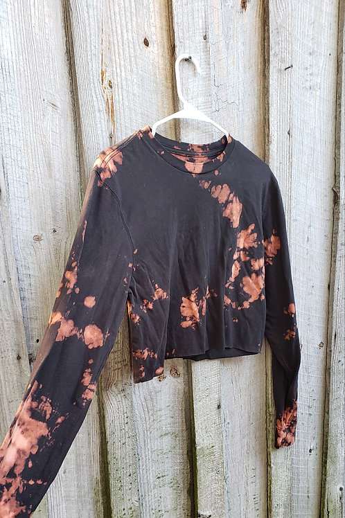 Bleach dye black long sleeve crop tee - size S, super soft material