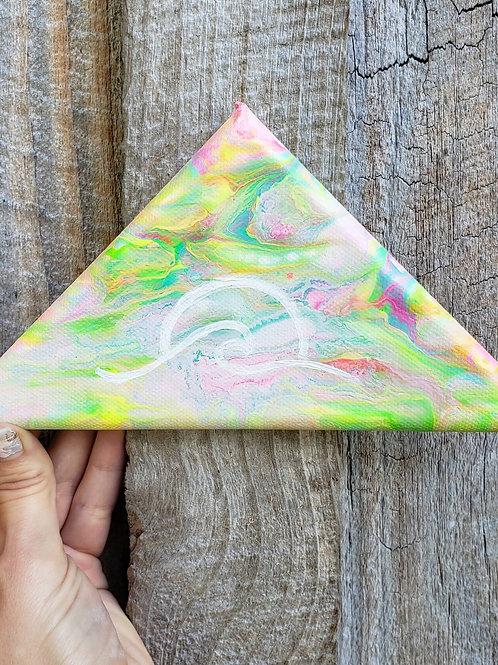 Go with the Flow - Original mini triangle canvas - black light reactive