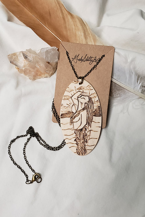 """DIVINE (limited edition) - Wood Burned Pendant on 22"""" Bronze Chain"""