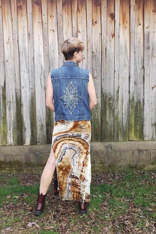 Bloom - Size M Hand Painted Denim Vest Jacket
