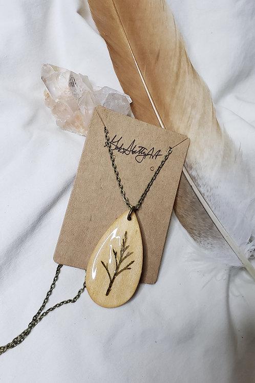 Real Cedar Branch Necklace - Bronze Chain