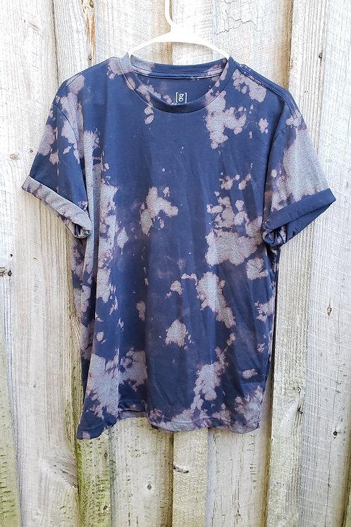 Bleach dye navy blue short sleeve tshirt - Size M, soft and comfy