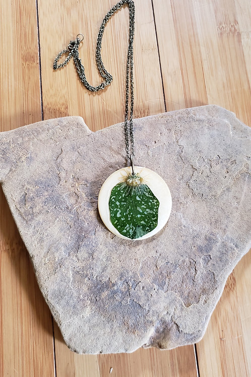 Real Leaf (Polka Dot Plant) & Flower Necklace in Epoxy Resin