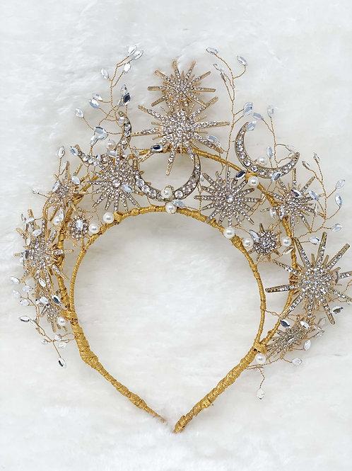moon stars wedding tiara