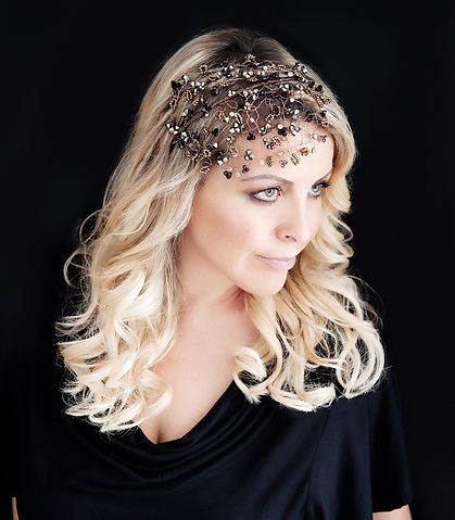 Amanda Davis-Harrison with bridal headdress