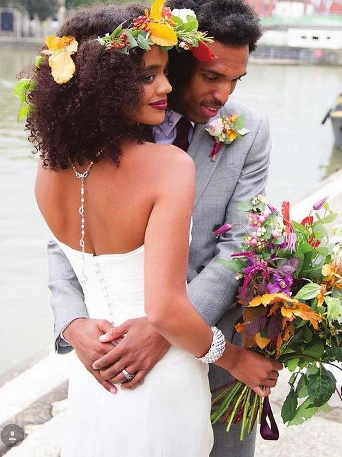 wedding couple bridal back drop pearl necklace