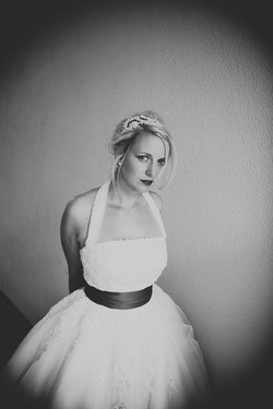 bride in black and white wearing crystal headdress