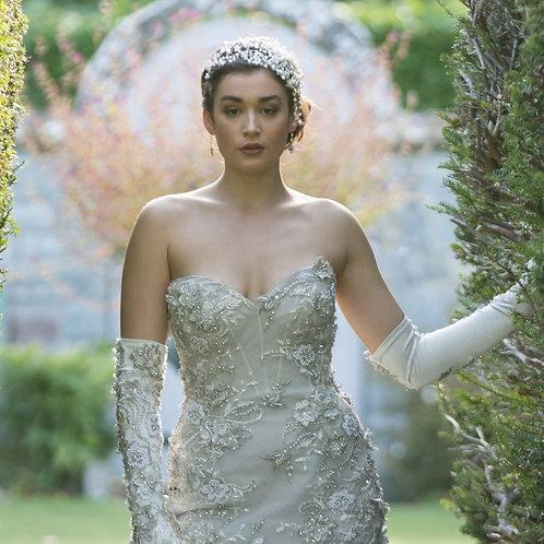 bride in garden grey dress bridal headdress