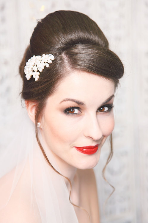 bride brunette hair with pearl flower hair comb