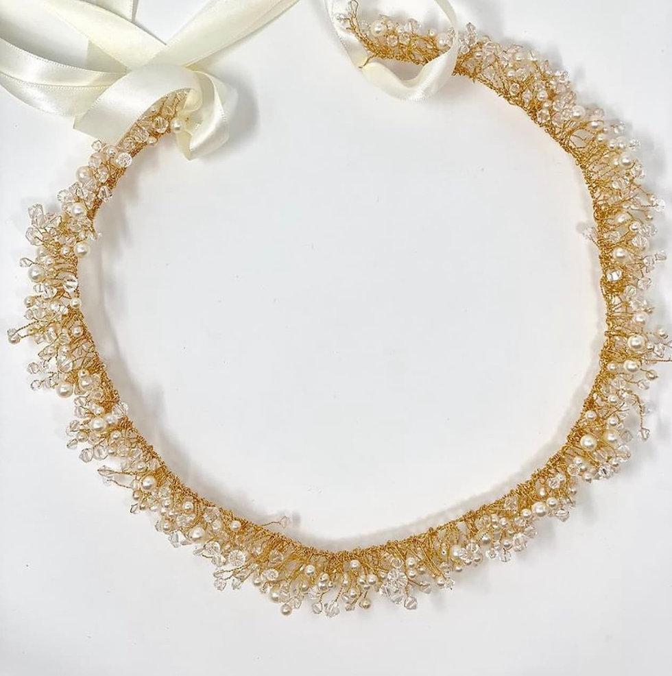 gold bridal hair garland