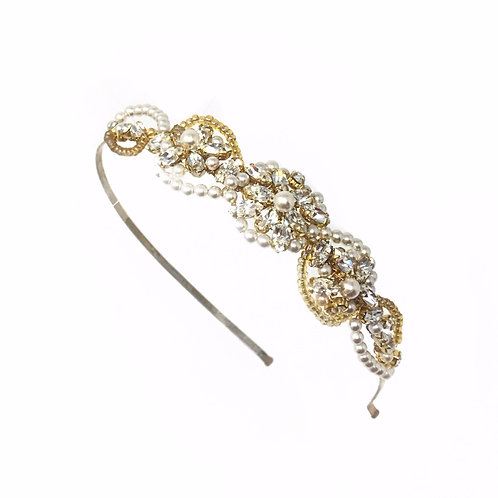 white background gold and ivory pearl crystal bridal headband