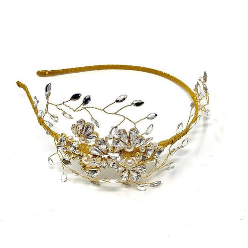 white background gold and pearl wedding headdress