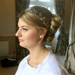 bespoke pearl and crystal hair vine on blonde bride